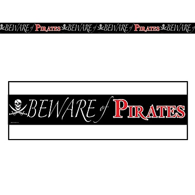 Ruban de fête « Beware Of Pirates », 3 po x 20 pi, 5/paquet