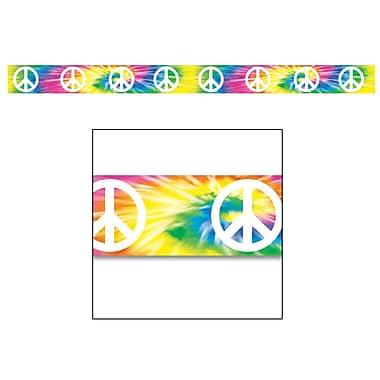 Ruban de fête signe de paix bariolé, 3 po x 20 pi, 5/paquet