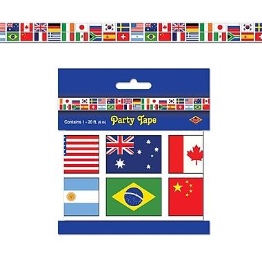 Ruban de fête drapeaux internationaux, 3 po x 20 pi, 5/paquet