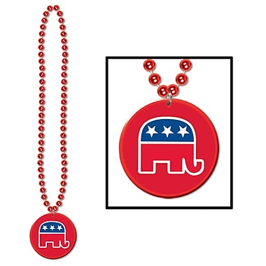 Beistle Beads Necklace With Republican Medallion, 33