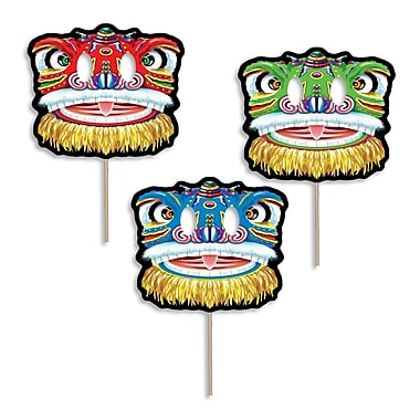 Dragon Mask Fans With Stick, 10/Pack