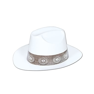 Plastic Cowboy Hat, One Size Fits Most, White, 24/Pack