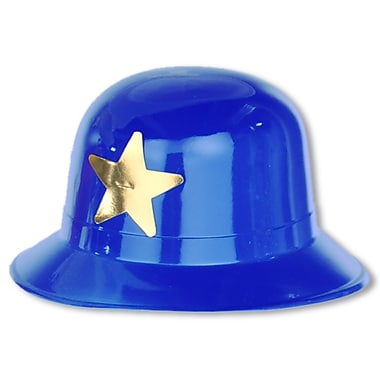 Blue Plastic Keystone Cop Hat, One Size Fits Most, 6/Pack