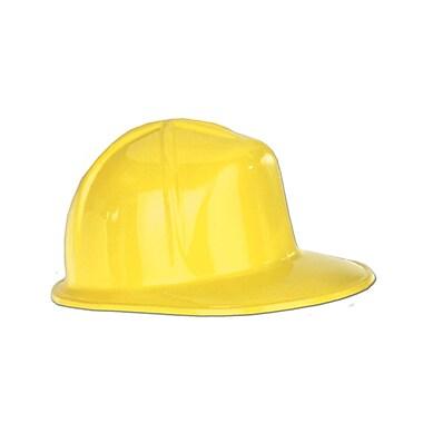 Mini casques de construction en plastique, 5 x 2 1/2 po, jaune, 12/paquet