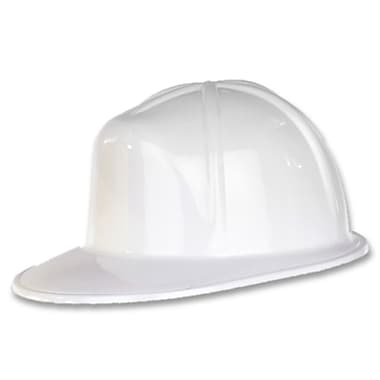 Plastic Construction Helmet, One Size Fits Most, White, 8/Pack