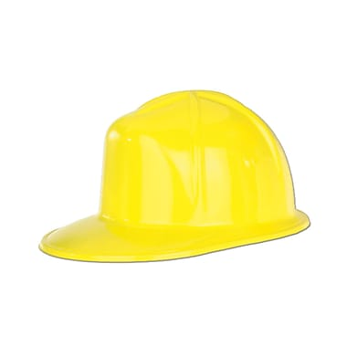 Plastic Construction Helmet, One Size Fits Most, Yellow, 8/Pack