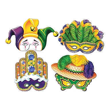 Mardi Gras Paper Masks With Elastic, 12