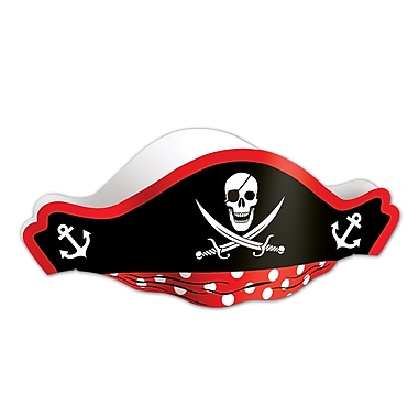 Printed Pirate Hat With Tissue Crown, One Size Fits Most, 8/Pack