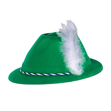 Green Velour Tyrolean Hat, 3/Pack