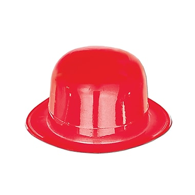 Plastic Derby, One Size Fits Most, Red, 8/Pack