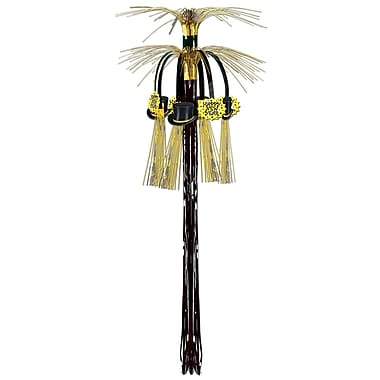 New Year Cascade Hanging Column, 3', Black & Gold, 4/Pack