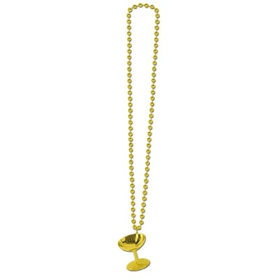 Beistle Beads Necklace With Champagne Glass, 33