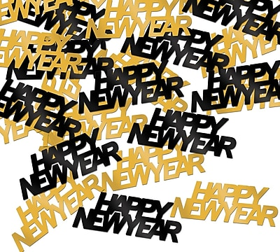 Beistle Happy New Year Fanci Confetti, Black/Gold, 5/Pack