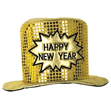 Glitz 'N Gleam Happy New Year Top Hat, Gold, 2/Pack