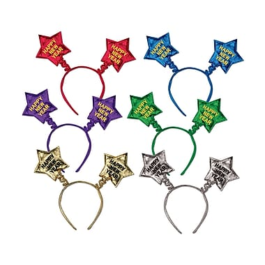 Happy New Year Star Boppers, Assorted Colours, 12/Pack