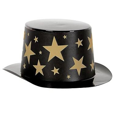 Mini chapeau haut de forme noir en plastique avec bande étoile, 4 3/4 x 2 po, noir et doré, 13/paquet
