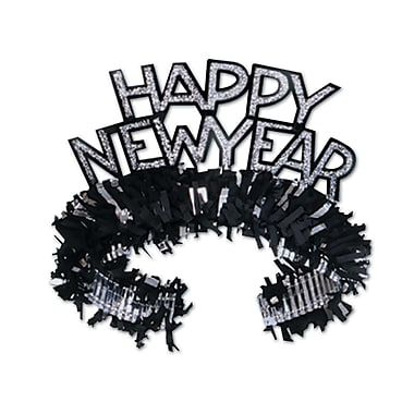 Black & Silver Happy New Year Regal Tiara, 50/Pack
