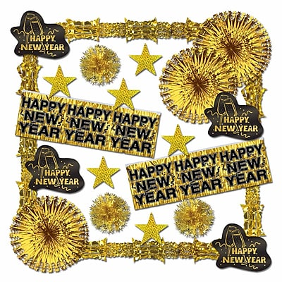 Beistle 22-Piece Glistening New Year Decorating Kit, Gold