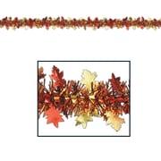 Beistle 12' Flame Resistant Metallic Autumn Leaf Garland, 3/Pack