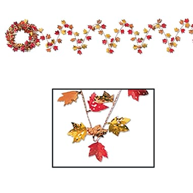 Beistle 25' Gleam 'N Flex Autumn Leaf Garland, 4/Pack