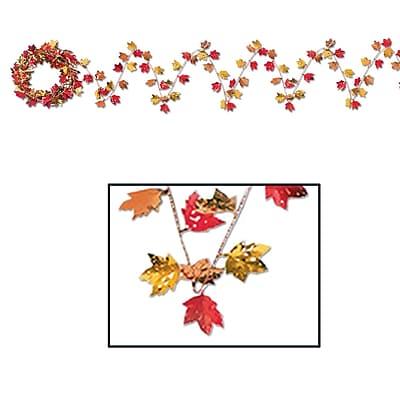 Beistle 25' Gleam 'N Flex Autumn Leaf Garland, 4/Pack