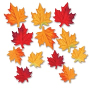 """Beistle 3 1/2"""" & 4 3/4"""" Deluxe Fabric Autumn Leaves Cutouts, 48/Pack"""