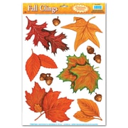 "Fall Leaf Clings, 12"" x 17"", 7 Sheets/Pack"