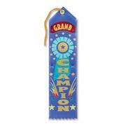 "Beistle 2"" x 8"" Grand Champion Award Ribbon, Blue, 9/Pack"