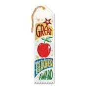 """Beistle 2"""" x 8"""" Great Teacher Award Ribbon, White, 9/Pack"""