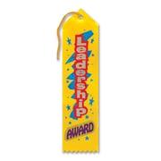"Beistle 2"" x 8"" Leadership Award Ribbon, Yellow, 9/Pack"