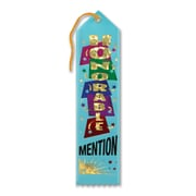 "Beistle 2"" x 8"" Honorable Mention Award Ribbon, Turquoise, 9/Pack"