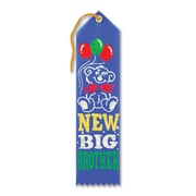 """Beistle 2"""" x 8"""" New Big Brother Award Ribbon, Blue, 9/Pack"""