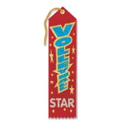 """Beistle 2"""" x 8"""" Volleyball Star Award Ribbon, Red, 9/Pack"""