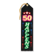"Beistle 2"" x 8"" 50 Happens Award Ribbon, 9/Pack"