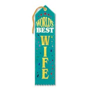 "Beistle 2"" x 8"" World's Best Wife Award Ribbon, 9/Pack"