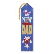 """Beistle 2"""" x 8"""" New Dad Award Ribbon, Blue, 9/Pack"""
