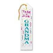 "Beistle 2"" x 8"" New Grandma Award Ribbon, White, 9/Pack"