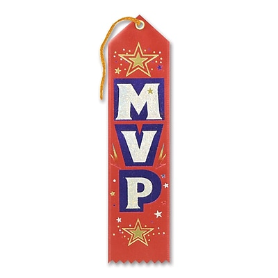 "Beistle 2"" x 8"" MVP Award Ribbon, 9/Pack"