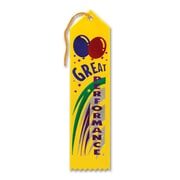 "Beistle 2"" x 8"" Great Performance Award Ribbon, Yellow, 9/Pack"