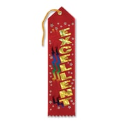 "Beistle 2"" x 8"" Excellent Award Ribbon, Red, 9/Pack"