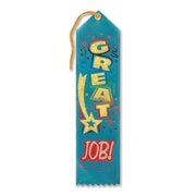 "Beistle 2"" x 8"" Great Job Award Ribbon, 9/Pack"