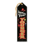 "Beistle 2"" x 8"" Another Year Younger Award Ribbon, Black, 9/Pack"