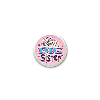 Macaron clignotant rose « New big sister », 2 po, paquet de 4