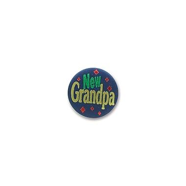Macaron bleu foncé satiné « New Grandpa », 2 po, paquet de 6