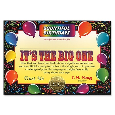 Beistle It's The Big One Certificate, 5