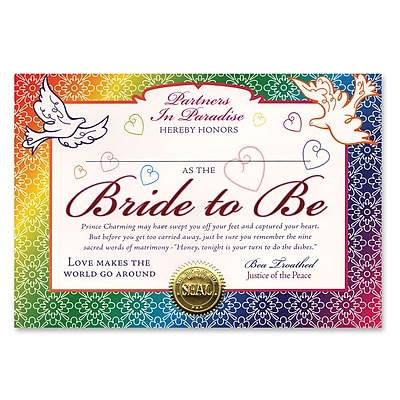 Beistle Bride To Be Certificate, 5