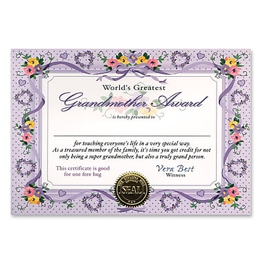 Beistle World's Greatest Grandmother Certificate, 5