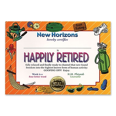 Beistle Happily Retired Certificate, 5