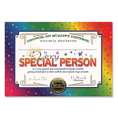 Beistle Very Special Person Certificate, 5