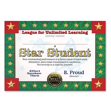 Beistle Star Student Certificate, 5